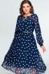 Платье,  Ремень Swallow 396 синий_в_белый_горошек