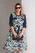 Платье Viola Style 0840 синий_с_принтом