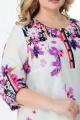 Туника Мишель стиль 959 цветочный-принт_бело-лимоный