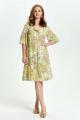 Платье TEZA 2645 салатовый+рисунок