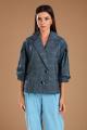 Женский костюм Viola Style 20571 серый_в_клетку-голубой