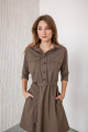 Платье KRASA 154-21 мини_коричнево-песочная_мелкая_клетка