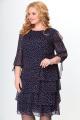Платье Кэтисбел 1503 синий_фон-розовый_горох
