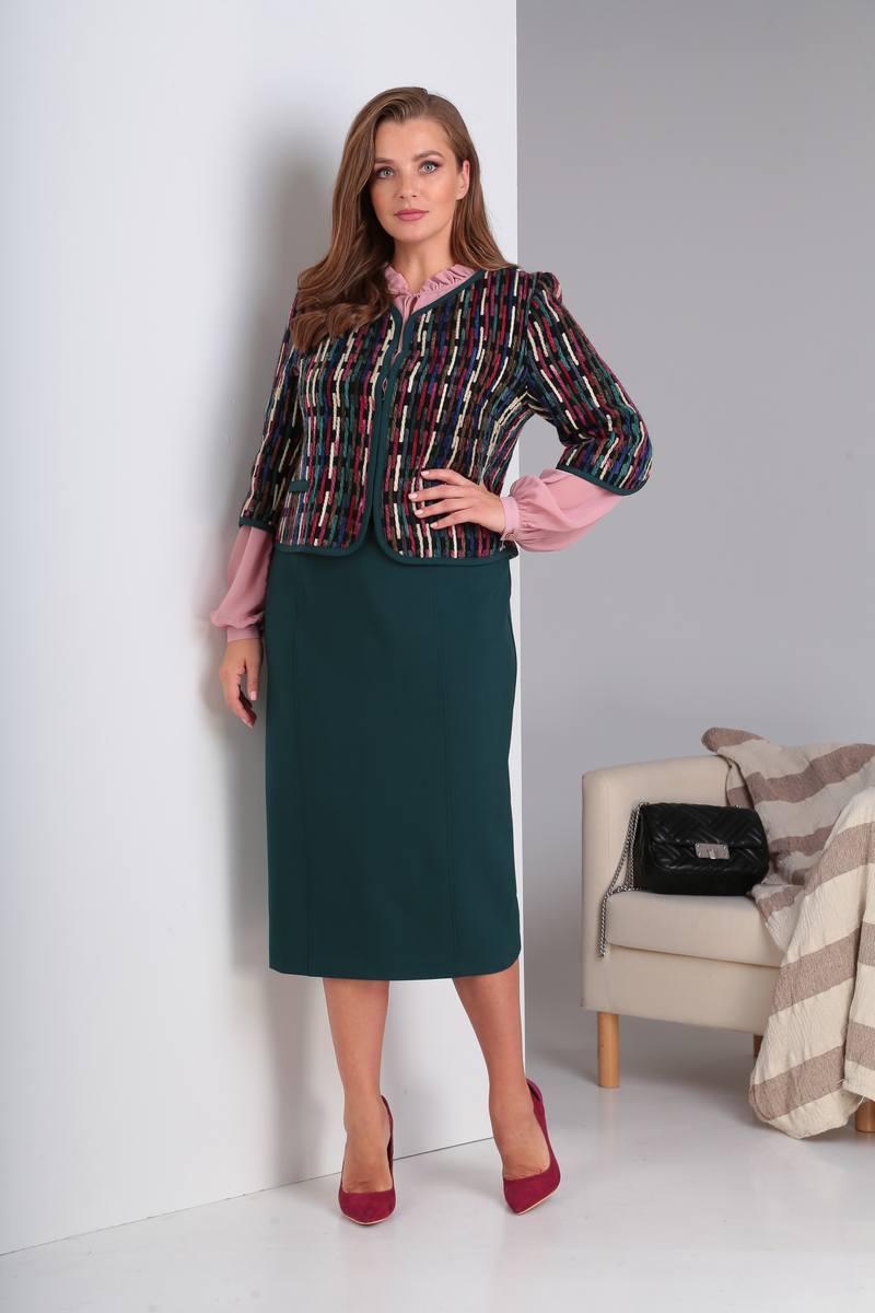 блуза,  жакет,  юбка Viola Style 3447 цветной_твид