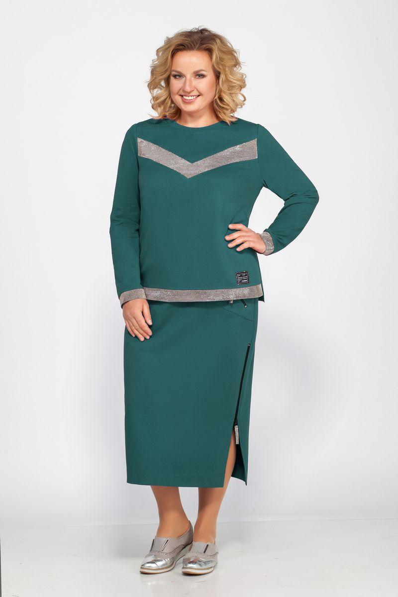блуза,  юбка Bonna Image 454 зеленый