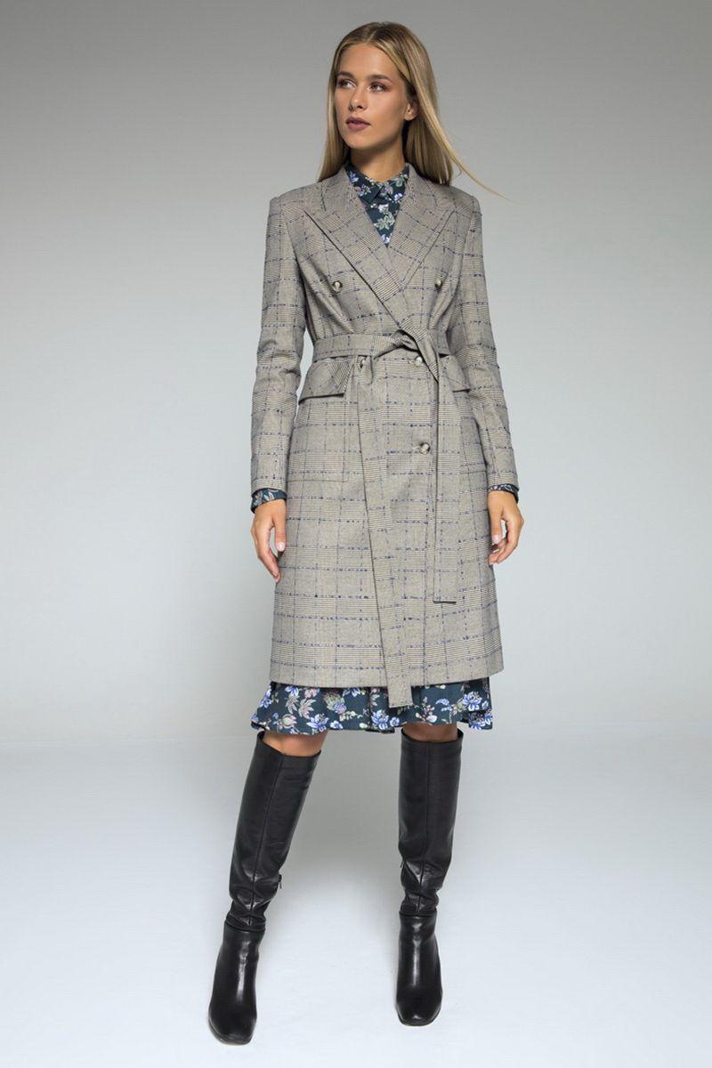 пальто LaVeLa L70019 серый/клетка