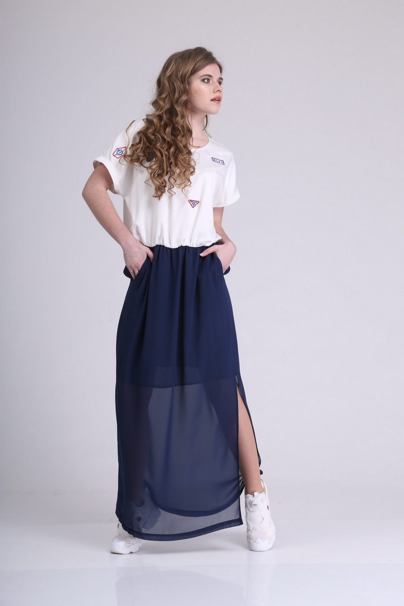 платье AMORI 9163 молочный+темно-синий