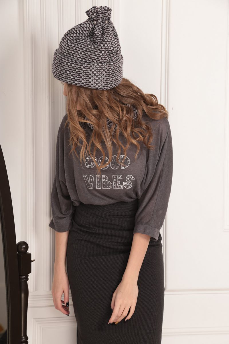 шапка AMORI 1001 шоколад/серый