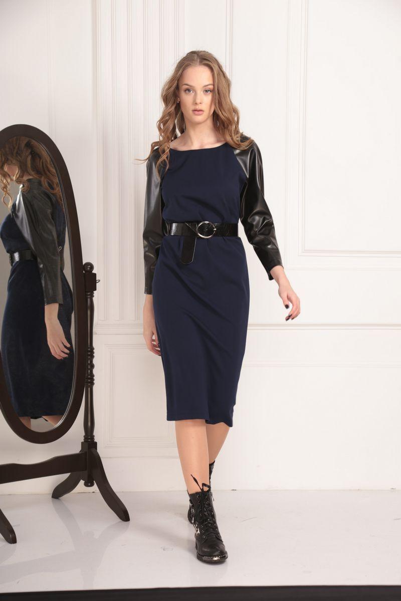платье,  пояс AMORI 9446 тёмно-синий