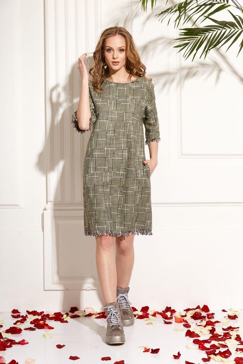 платье AMORI 9462 зеленая_клетка