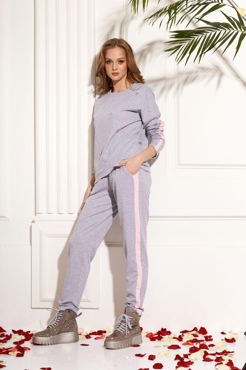 брюки AMORI 5106 серо-розовый