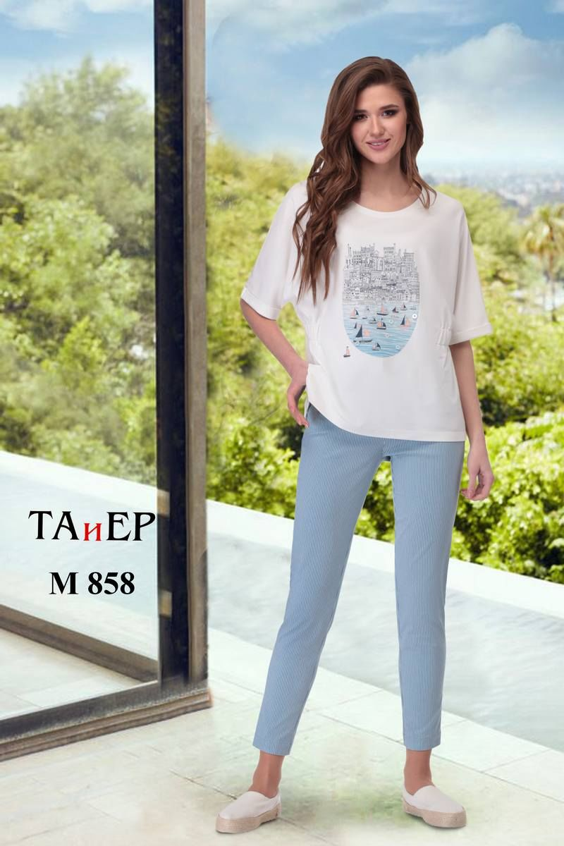 блуза,  брюки TAiER 858 голубой_джинс