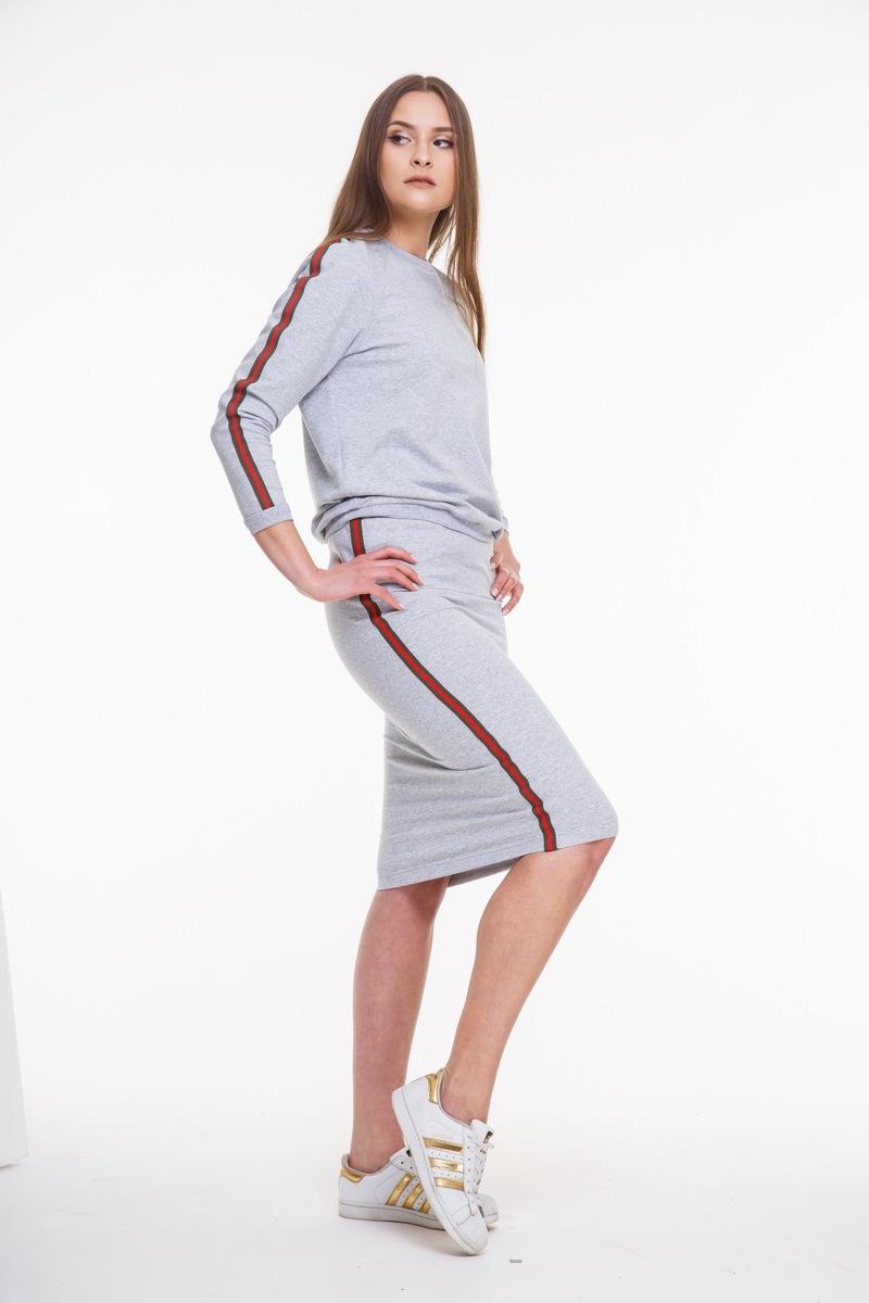 юбка AMORI 3033 серый+красно-зел.тесьма