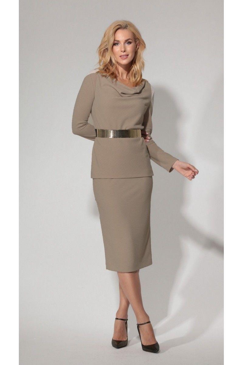 блуза,  юбка Vladini 7117 кофе