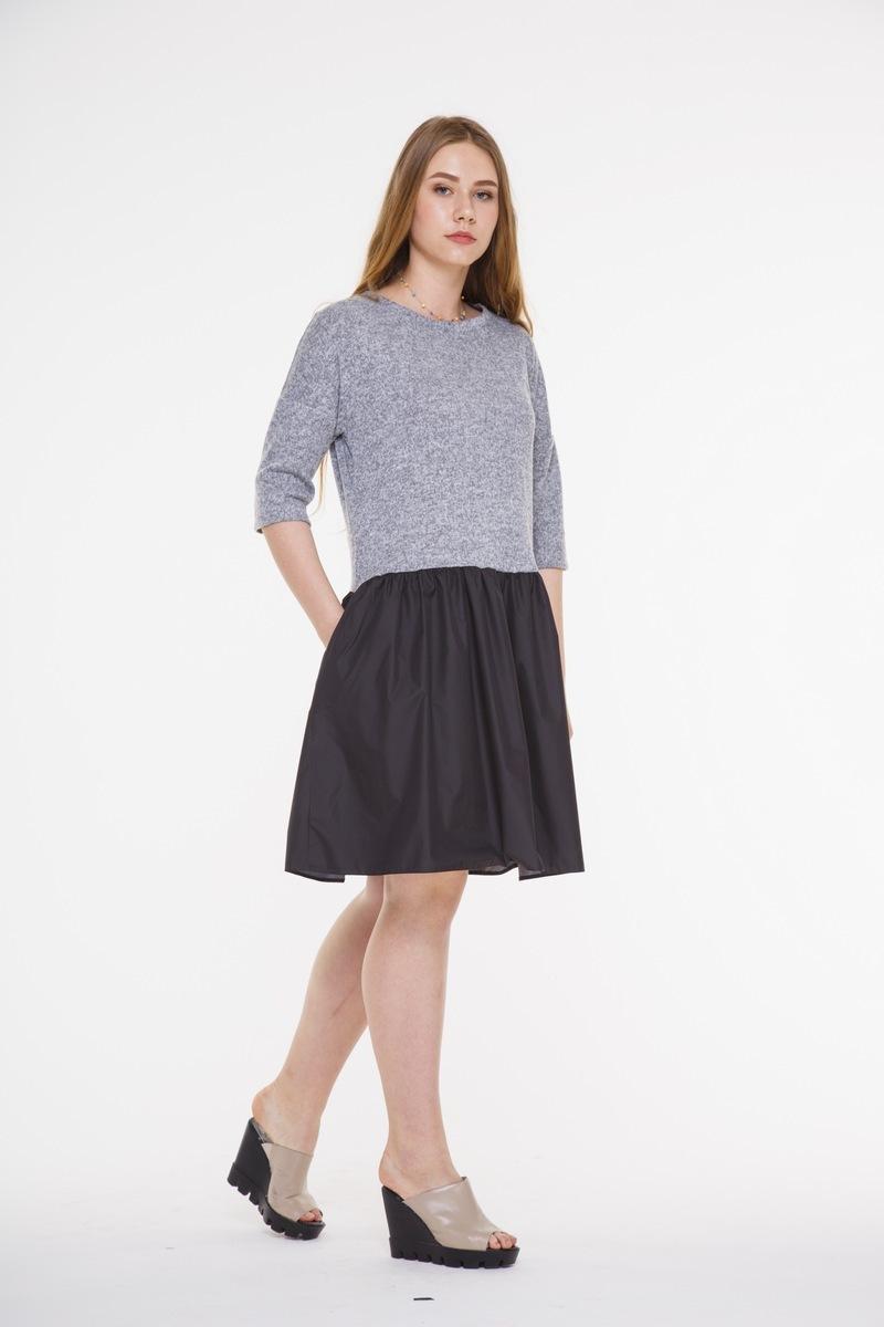 платье AMORI 9282 серый+черный