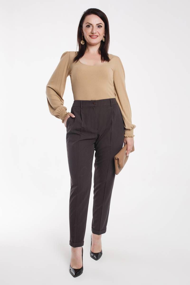 брюки Дорофея 105 коричневый,белый