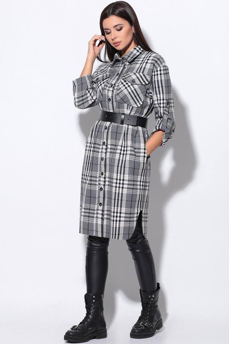 платье LeNata 11169 серый-в-клетку