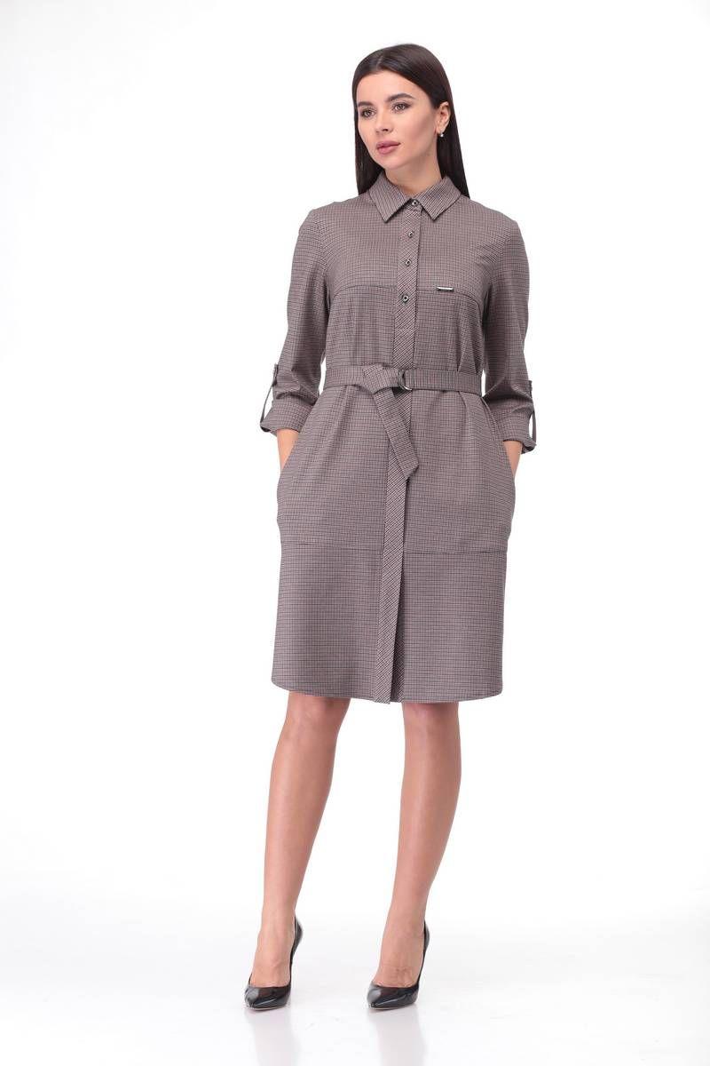 платье LadyThreeStars 1871-1 корица+серый