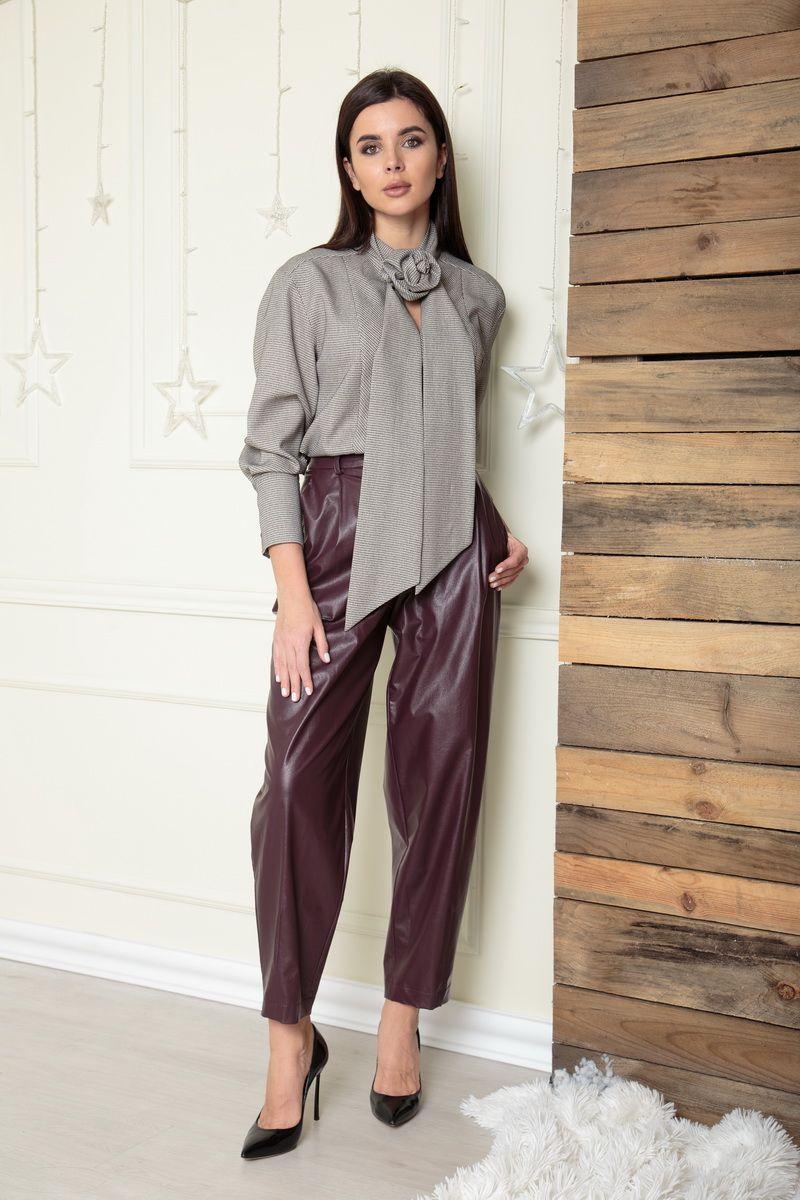 брюки SandyNa 13882 баклажановый