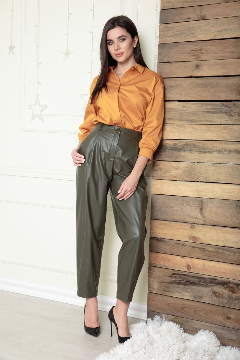 брюки SandyNa 13882 бронзово-зеленый