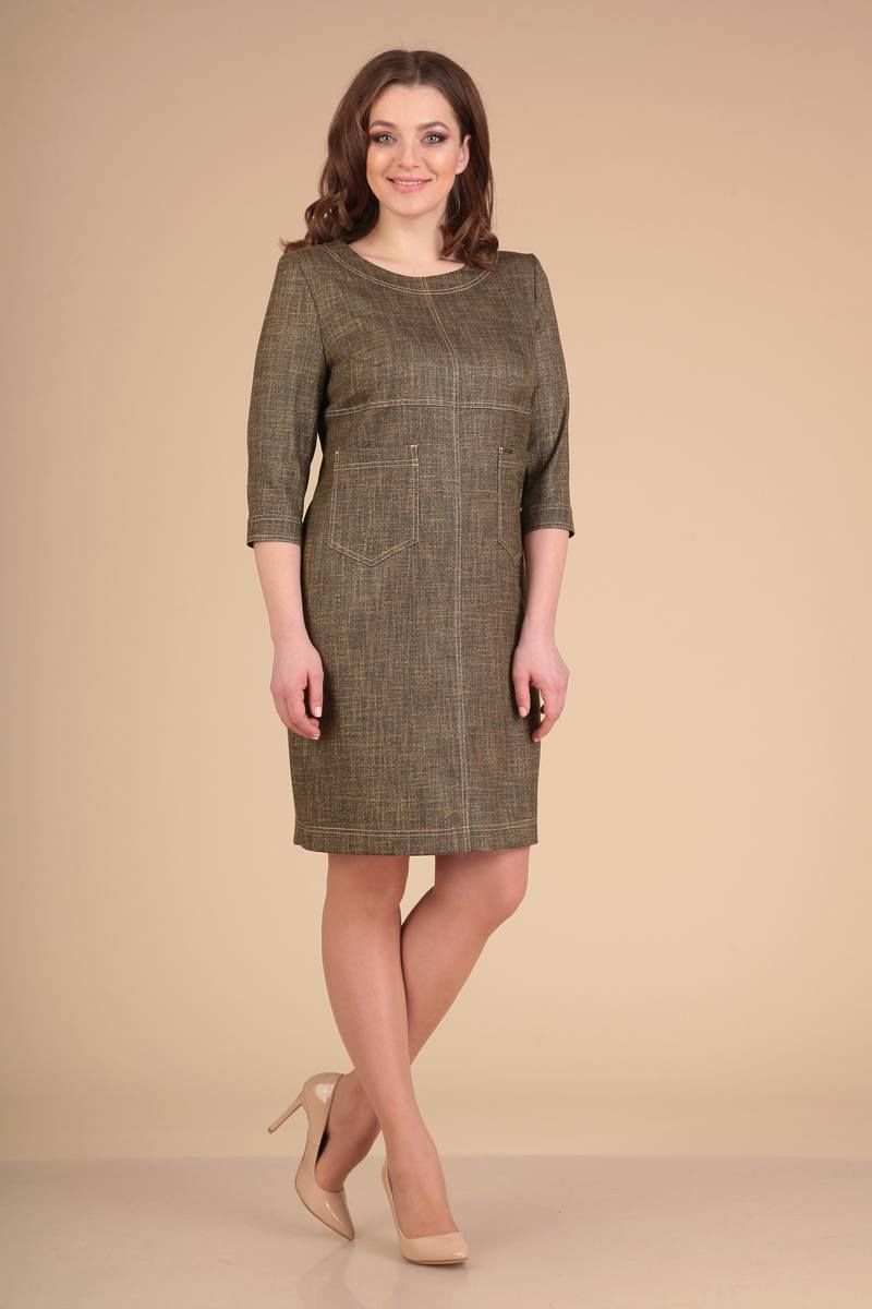 платье Viola Style 0773 коричневый_меланж