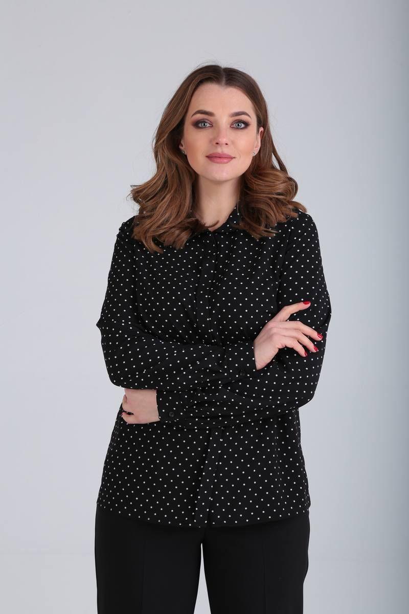 блуза Bliss 1555 черный/горошек
