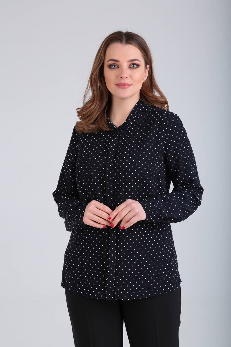 блуза Bliss 1555 синий/горошек