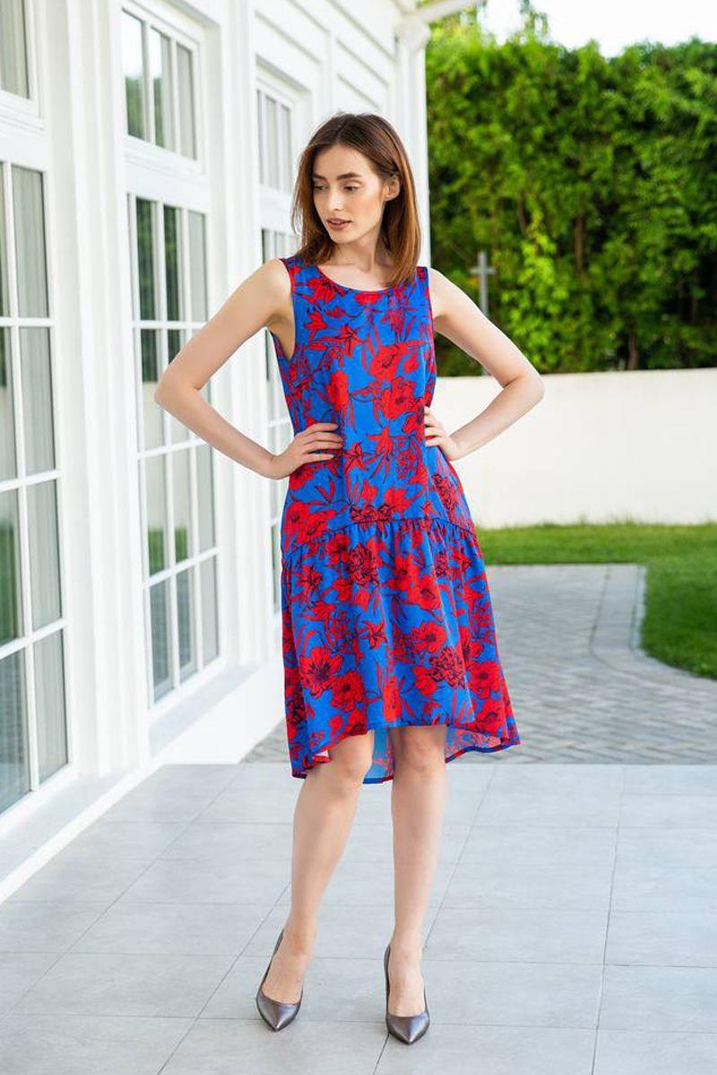 платье Ivera 877 васильковый, алый