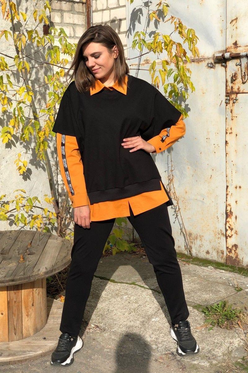 блуза,  брюки,  жилет Runella 1441 оранжевый