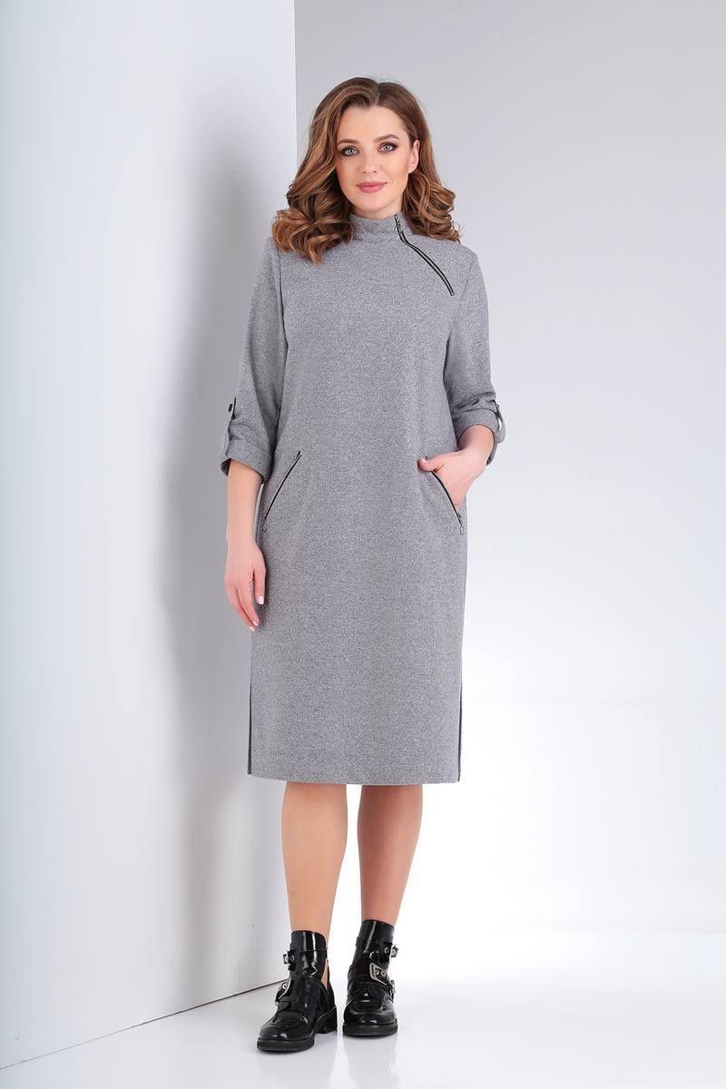 платье Vilena 663 серый