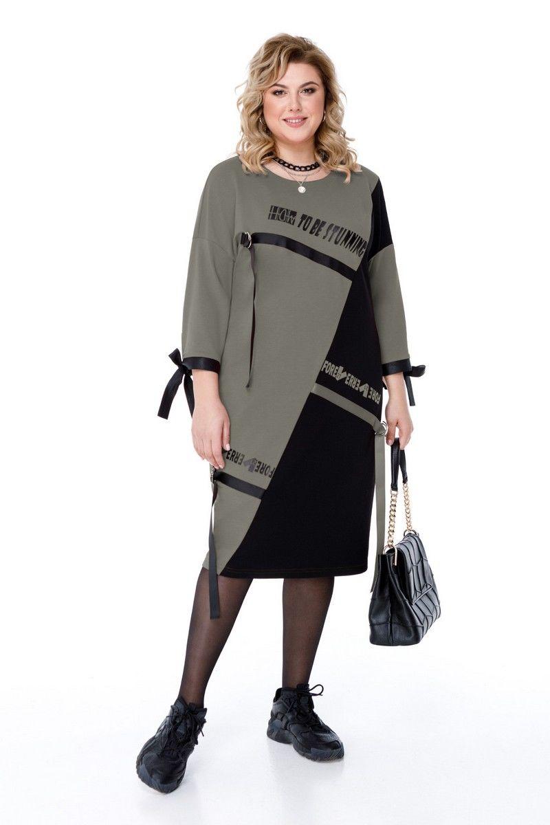 платье Pretty 1185 хаки-черный