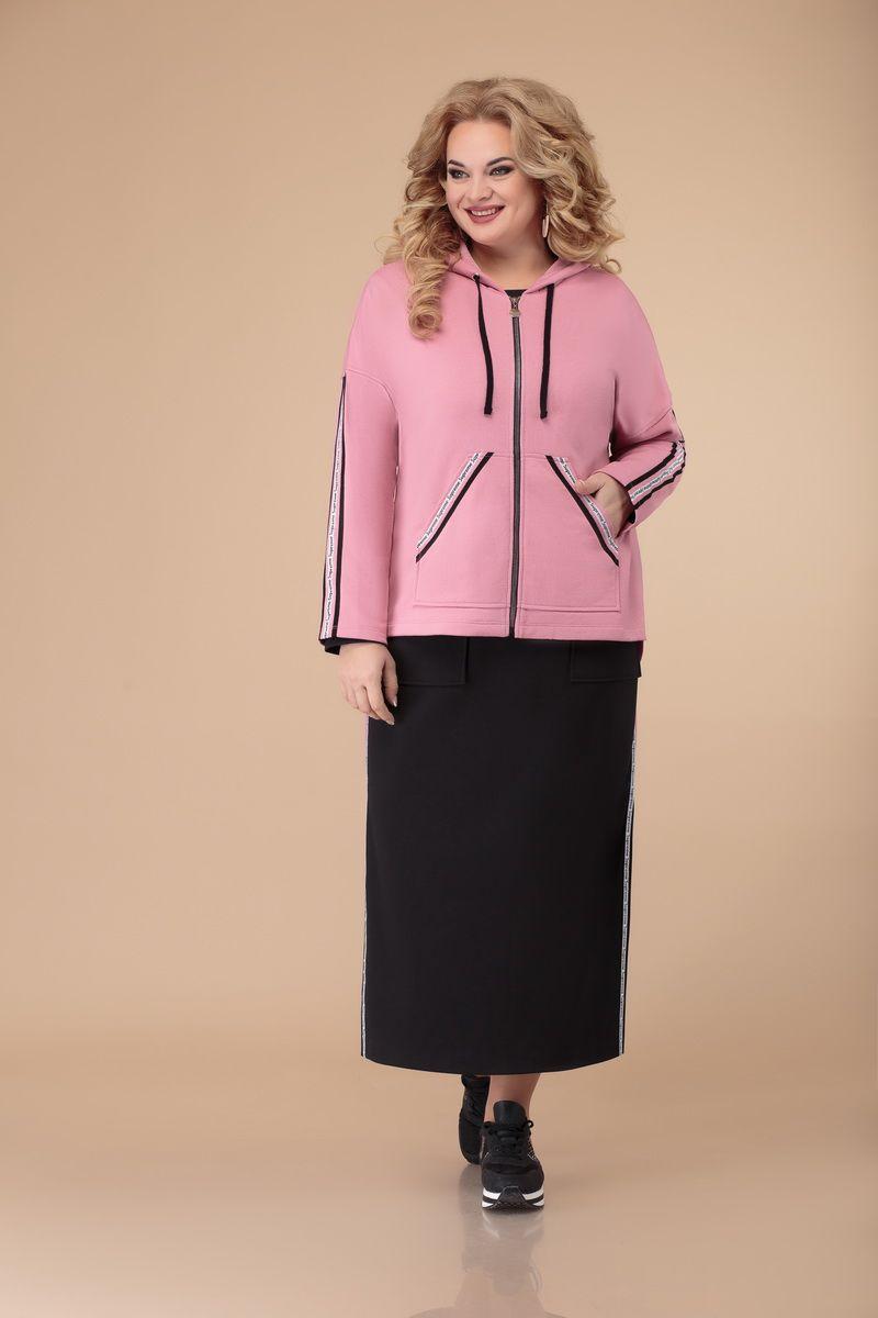 жакет,  платье Svetlana-Style 1501 черный+розовый