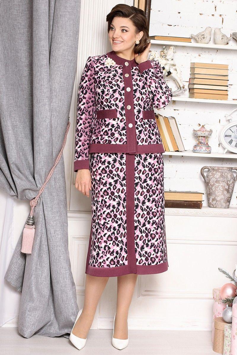 жакет,  юбка Мода Юрс 2635 розовый-леопард