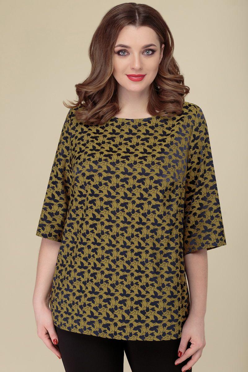 блуза DaLi 3152 горчица+цветы