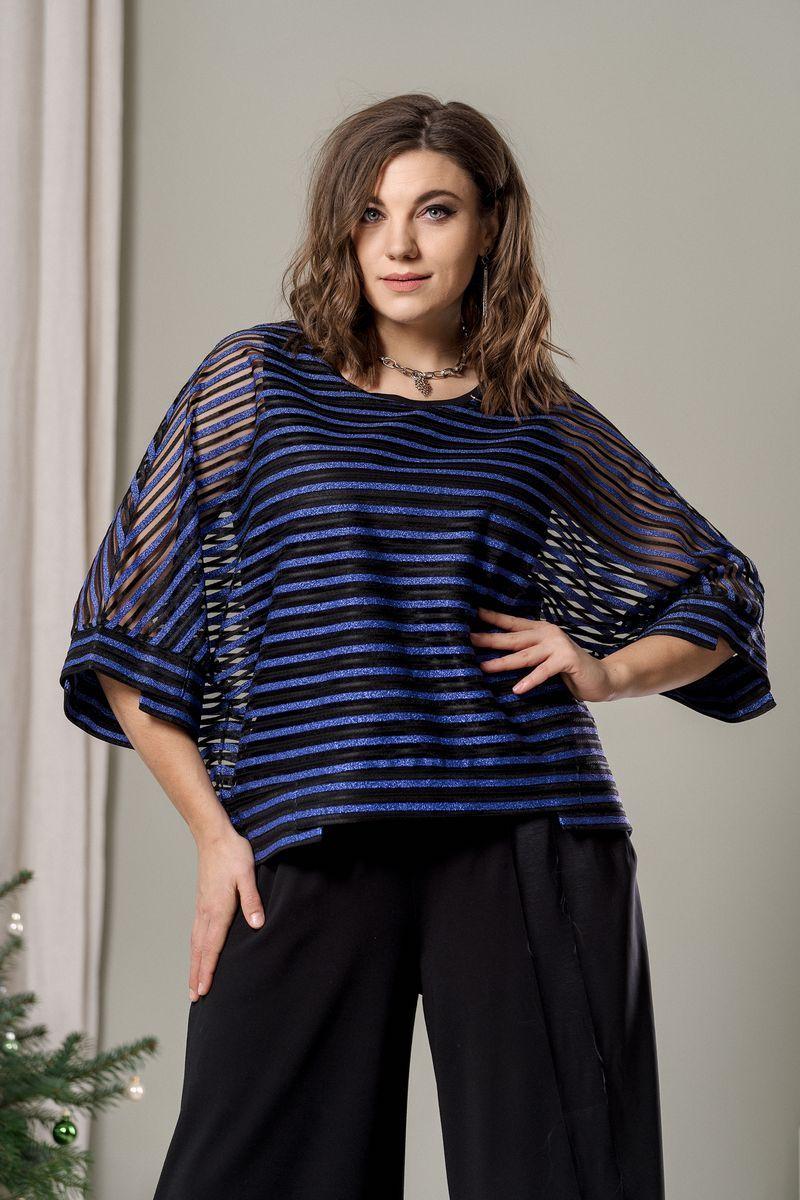блуза GRATTO 4020 черный+синий