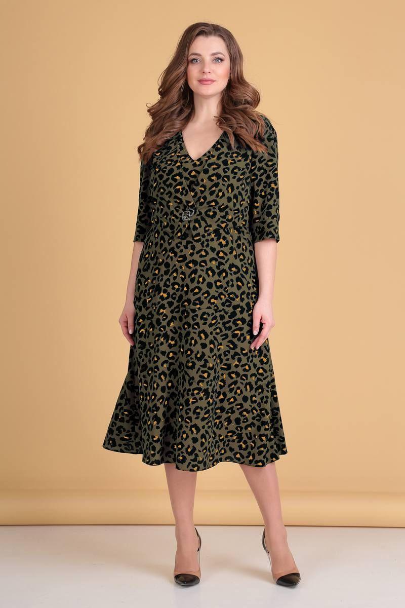 платье Viola Style 0910 хаки_с_гепардовым_принтом