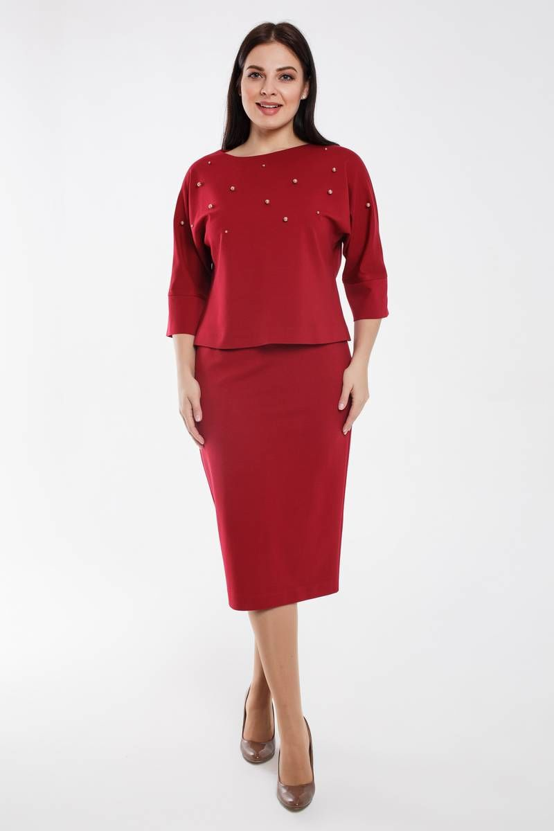 блуза,  юбка Gold Style 2462 красновато-бордовый