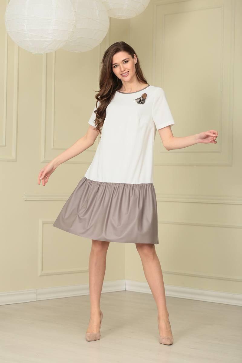 платье TAiER 938 сливочный+капучино