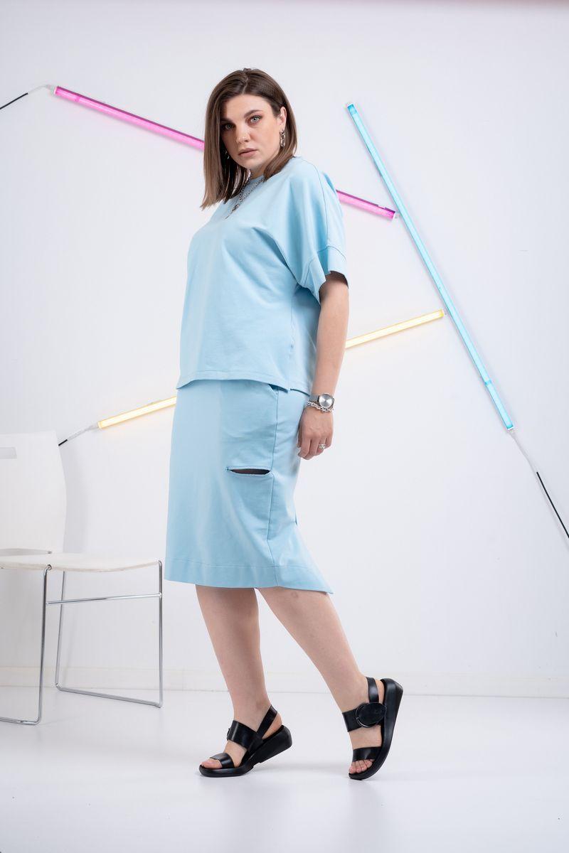 футболка,  юбка GRATTO 1114 голубой