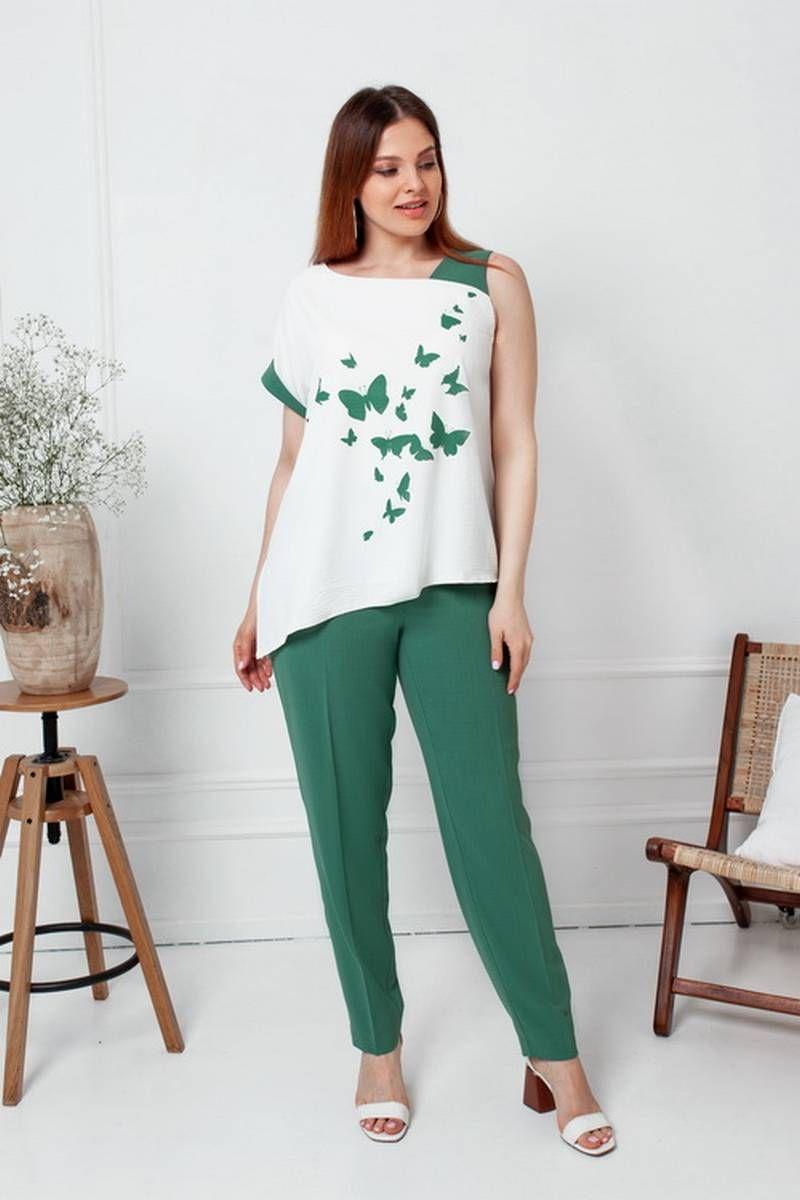 блуза,  брюки Gold Style 2477 изумрудно-зеленый,молочный