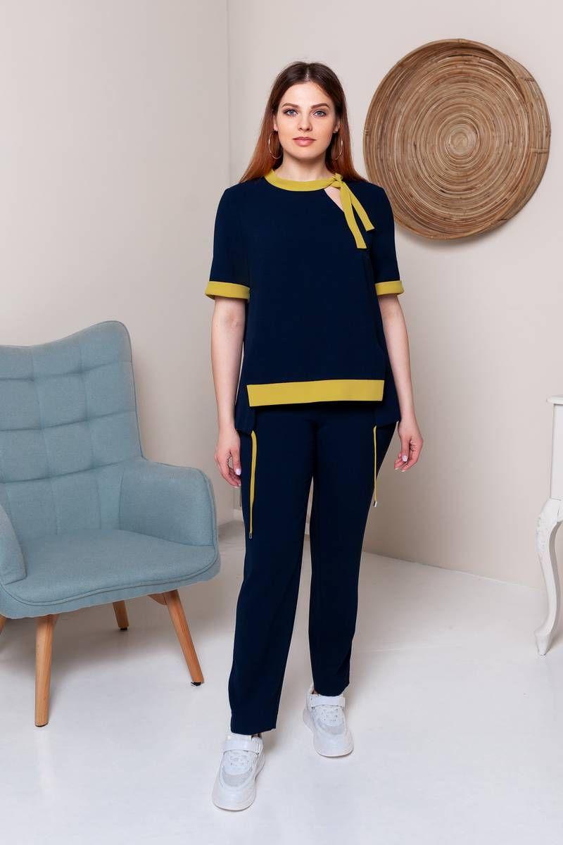 блуза,  брюки Gold Style 2475 темно-синий,горчичиный