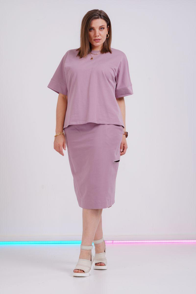футболка,  юбка GRATTO 1114 лиловый