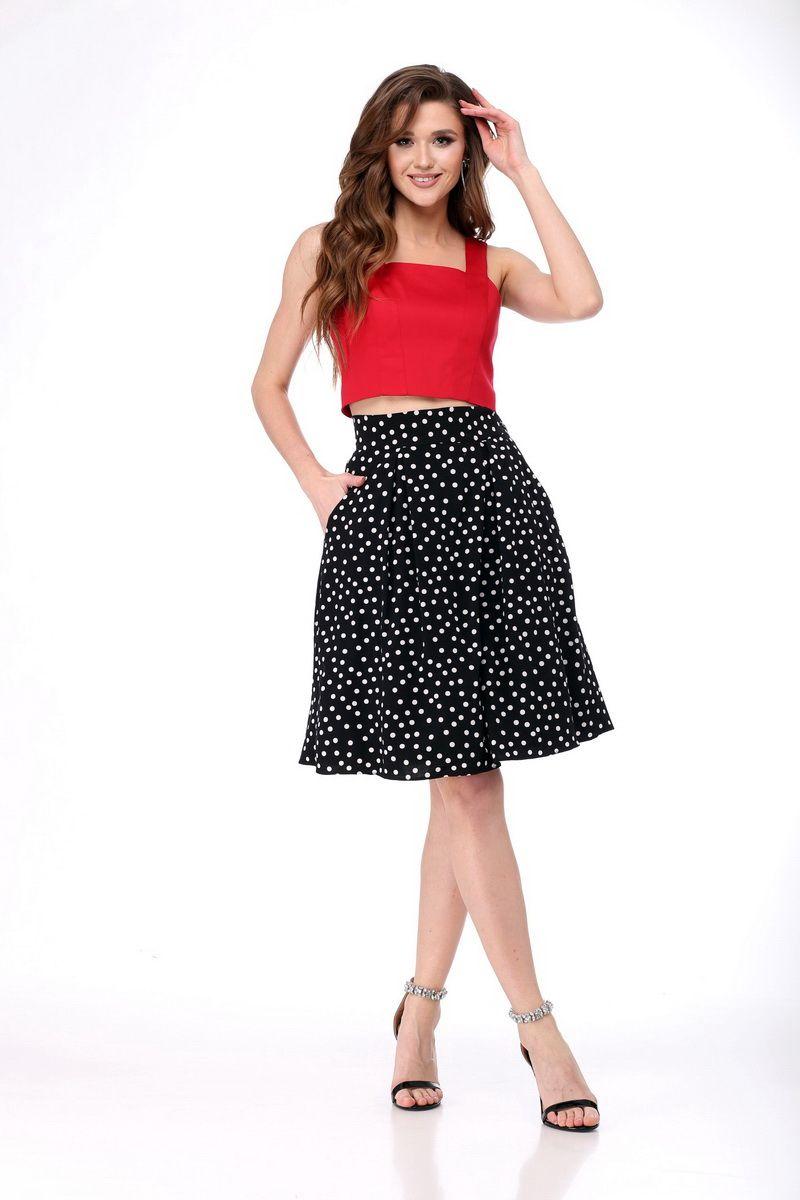топ,  юбка AMORI 1776 красный+черный