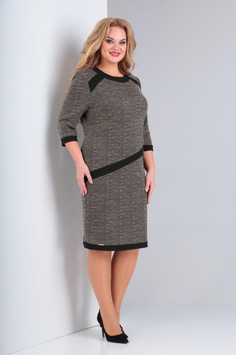 платье AMORI 9545 серо-черный