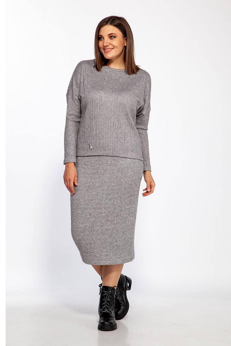 джемпер,  юбка Ollsy 5110 темно-серый