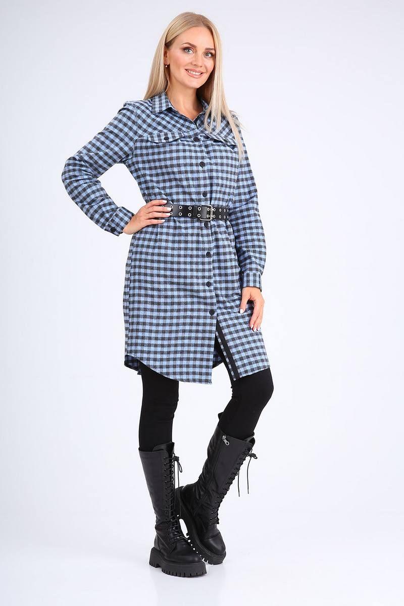 платье Ollsy 1573 синяя_клетка