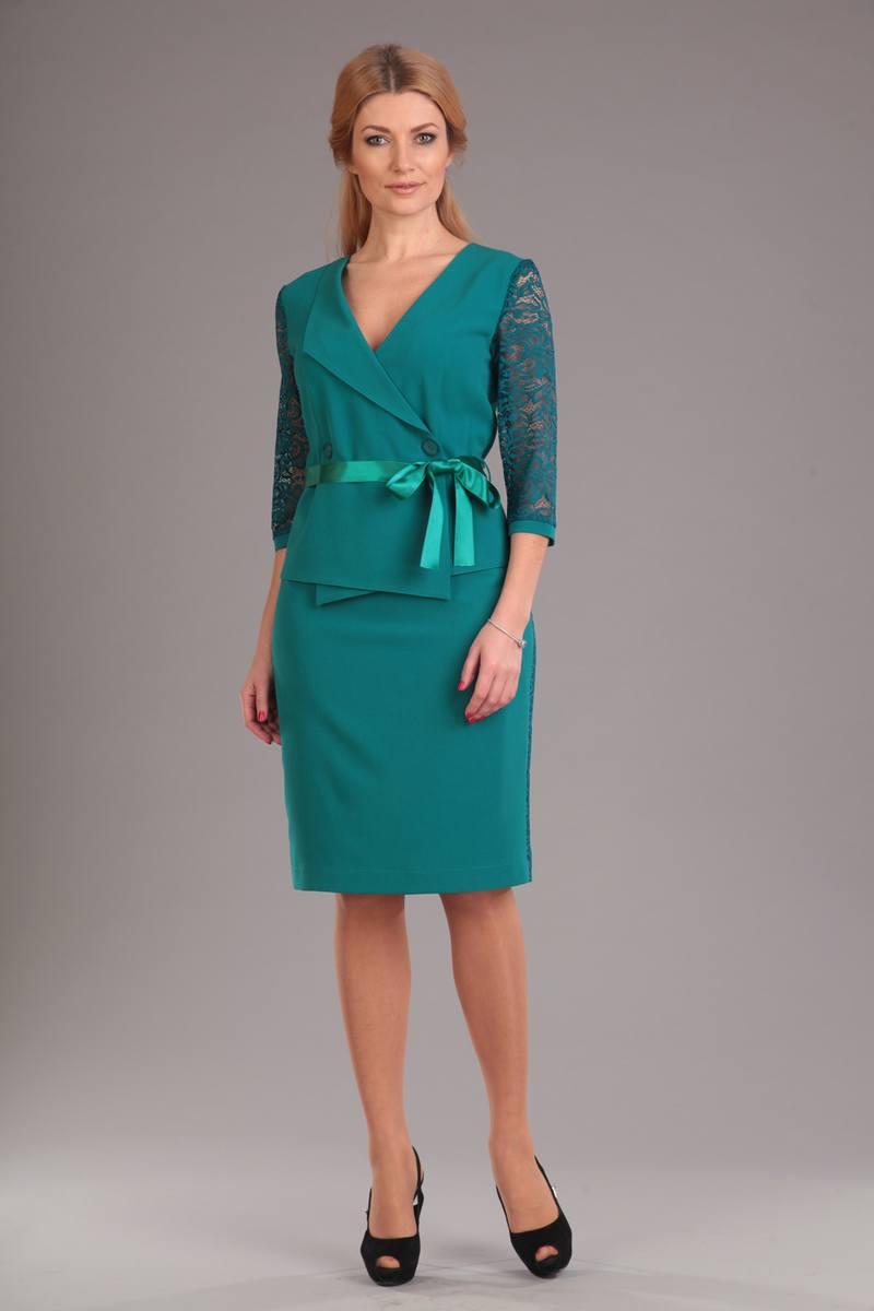 жакет,  юбка Liona Style 494 бирюза